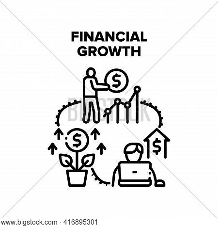 Financial Growth Vector Icon Concept. Financial Growth Businessman Or Freelancer, Financial Occupati