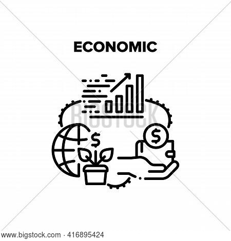 Economic Wealth Vector Icon Concept. Infographic Growth Economic Wealth, Hand Holding Wallet With Mo