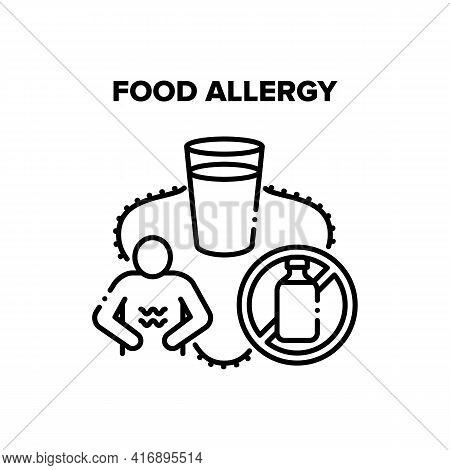Food Allergy Vector Icon Concept. Milk And Dairy Food Allergy Health Problem, Allergen Nourishment A