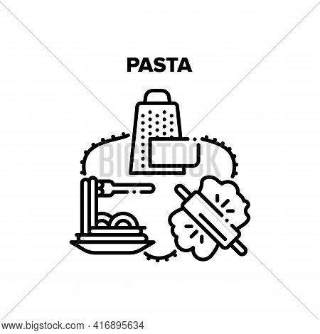Pasta Cook Dish Vector Icon Concept. Pasta Cook Dish And Eating With Parmesan Cheese, Rolling Pin Ki