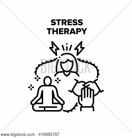 Stress Therapy Vector Icon Concept. Stress Therapy Patient Group Session And Consultation Or Yoga Ex