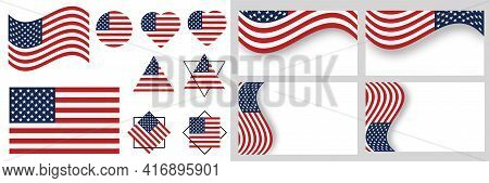 Usa Flag Vector Illustration.  American Flag National Sign Isolated.  Flag Of The United States. Usa