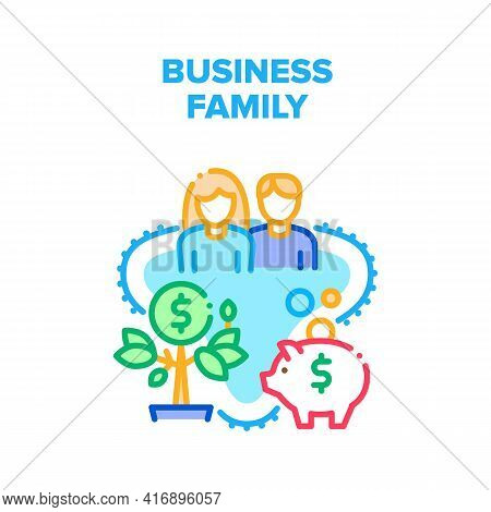 Business Family Vector Icon Concept. Business Family Husband Man And Wife Woman Leading Company And