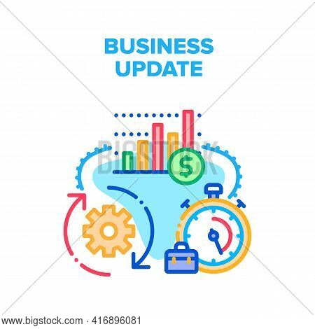 Business Update Vector Icon Concept. Business Update Technology And Strategy, Running Time For Updat