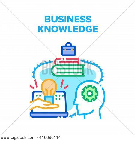 Business Knowledge Study Vector Icon Concept. Business Knowledge Studying Literature Books And Colle
