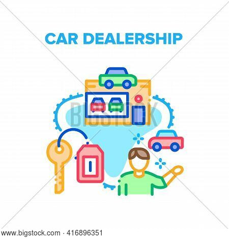 Car Dealership Vector Icon Concept. Car Dealership Manager Selling Automobile And Giving Key To Clie