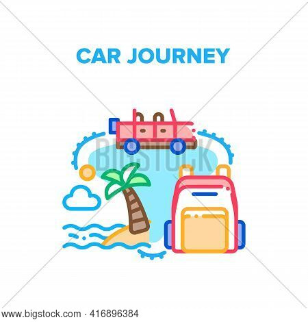 Car Journey Vector Icon Concept. Car Journey With Traveling Backpack Baggage To Ocean Beach, Adventu