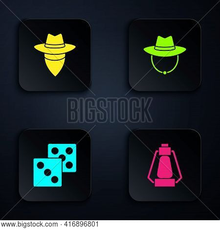 Set Camping Lantern, Cowboy, Game Dice And Western Cowboy Hat. Black Square Button. Vector