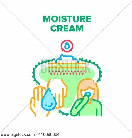 Moisture Cream Vector Icon Concept. Moisture Cream For Face Or Hands, Cosmetology Skin Care Beauty P