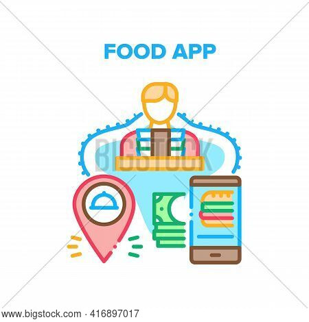 Food Application Vector Icon Concept. Food Application For Ordering Dish Online And Payment. Phone A