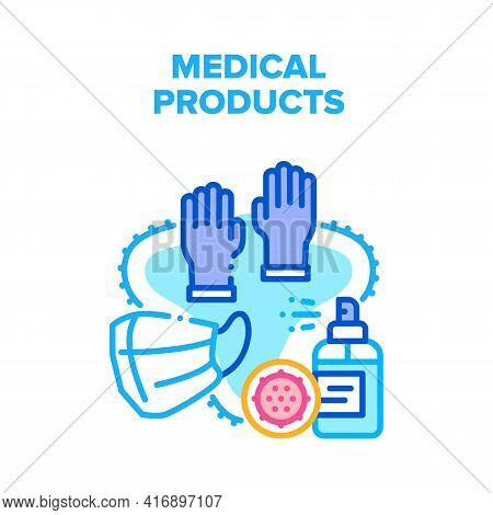 Medical Products Vector Icon Concept. Facial Mask And Protective Medical Gloves, Sanitizer Spray For