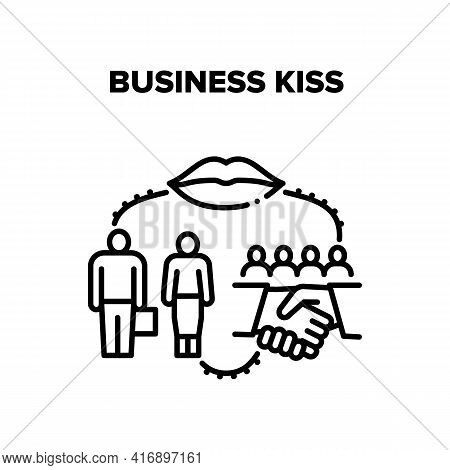 Business Kiss Vector Icon Concept. Business Kiss And Partners Meeting, Handshaking After Successfull