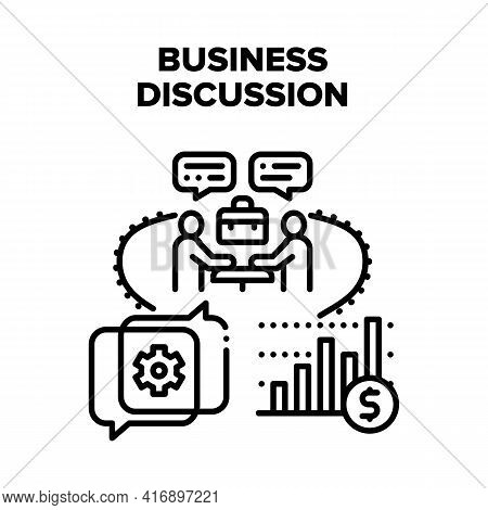 Business Discussion Partner Vector Icon Concept. Business Discussion Partner About Case And Cooperat