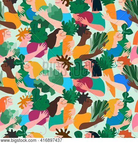 Seamless Pattern With Multiracial People Holding Giant Vegetables. Concept Of Harvesting, Healthy Ea