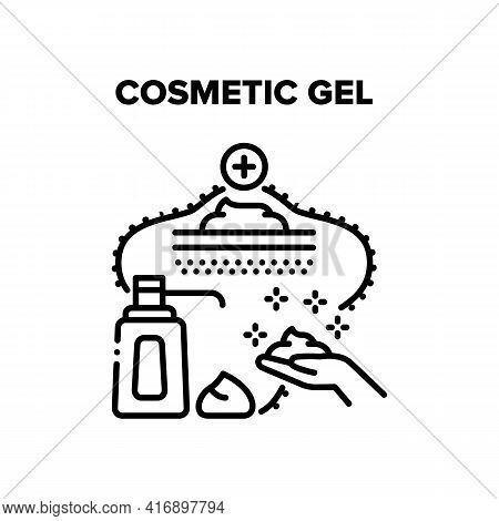 Cosmetic Gel Vector Icon Concept. Cosmetic Gel Bottle With Pump, Beauty Skincare Cream For Moisturiz