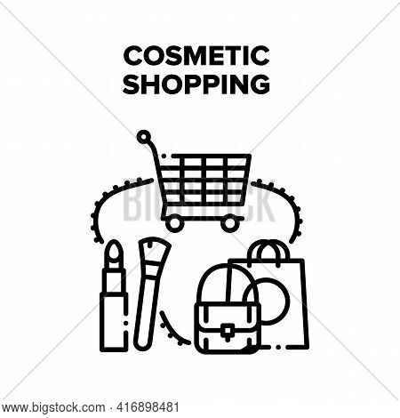 Cosmetic Shopping In Store Vector Icon Concept. Cosmetic Shopping Buying Beauty Accessories Lipstick