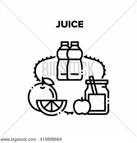 Juice Drink Vector Icon Concept. Freshness Juice Drink Prepared From Fruit Apple And Orange, Natural