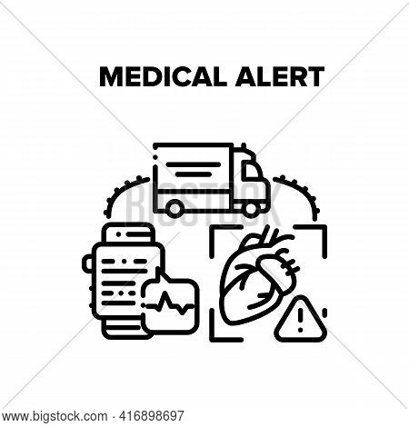 Medical Alert Vector Icon Concept. Medical Alert Of Heart Disease, Ambulance Transportation To Hospi
