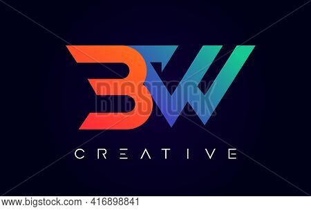 Bw Logo Letter Design With Modern Creative Concept And Orange Blue Colors Vector Illustration