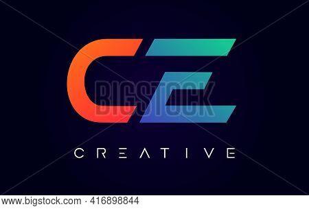 Ce Logo Letter Design With Modern Creative Concept And Orange Blue Colors Vector Illustration