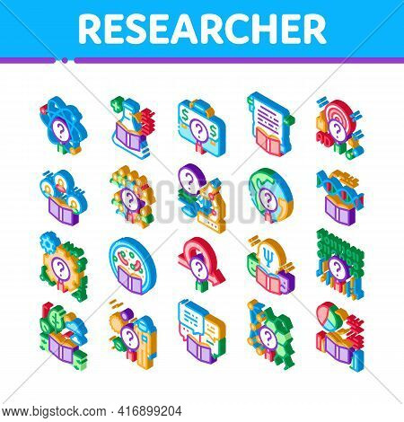 Researcher Business Icons Set Vector. Isometric Chemical Laboratory And Biology Researcher, Sociolog