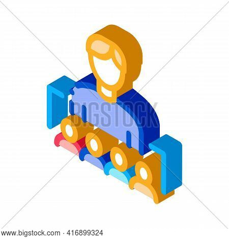 Working In Team Or Leadership Of Administrator Color Icon Vector. Isometric Working In Team Or Leade