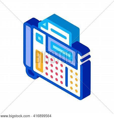 Answering Fax Administrator Color Icon Vector. Isometric Answering Fax Administrator Sign. Color Iso