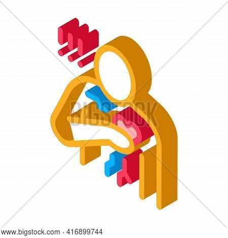 Miocardial Infarction, Heart Attack Color Icon Vector. Isometric Miocardial Infarction, Heart Attack