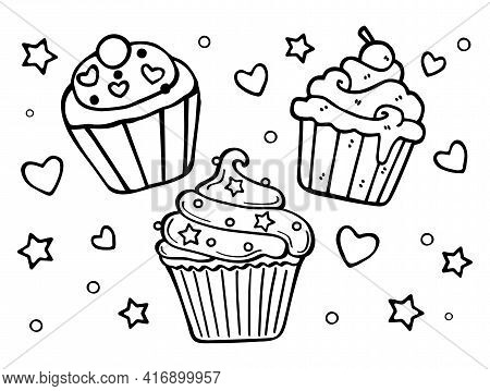 Cupcake Cakes Cheesecakes With Cream, Stars And Hearts Decor.vector Cartoon Silhouette Outline Black