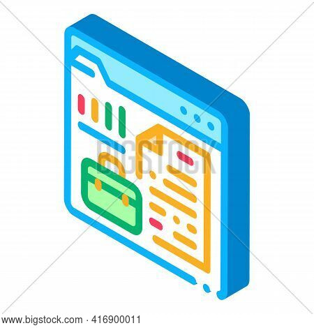 Company Business Case For Audit Color Icon Vector. Isometric Company Business Case For Audit Sign. C