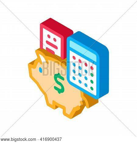 Piggy Bank Profit Calculating Audit Color Icon Vector. Isometric Piggy Bank Profit Calculating Audit