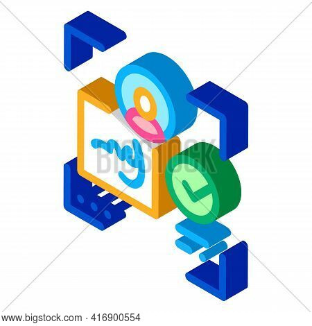 Electronic Signature Identity Color Icon Vector. Isometric Electronic Signature Identity Sign. Color