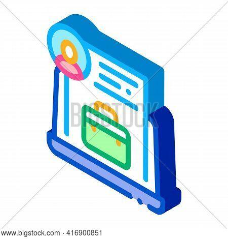 Business Case Or Cv Identity Color Icon Vector. Isometric Business Case Or Cv Identity Sign. Color I