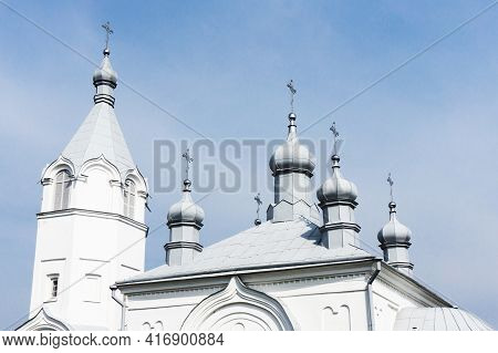 Orthodox Church Roof Background. Metal Domes With Cross Landscape. Religious Building Architecture O