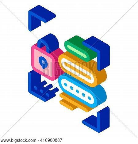 Password For Identity Color Icon Vector. Isometric Password For Identity Sign. Color Isolated Symbol