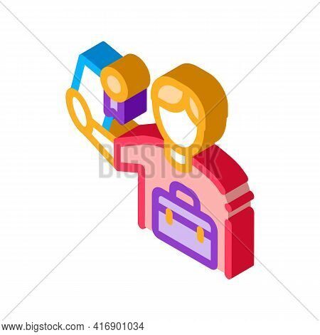 Certificate License For Work Color Icon Vector. Isometric Certificate License For Work Sign. Color I