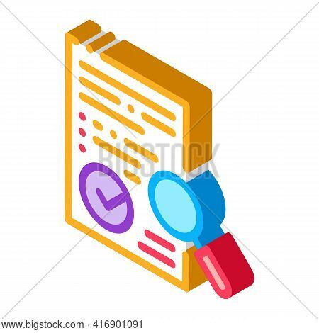Researching And Approve License Color Icon Vector. Isometric Researching And Approve License Sign. C