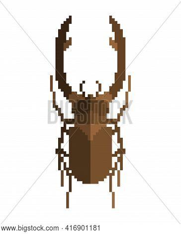 Stag Beetle Pixel Art. Beetle 8 Bit. Vector Illustration
