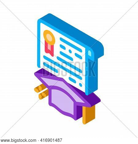 Educational License Diploma Color Icon Vector. Isometric Educational License Diploma Sign. Color Iso