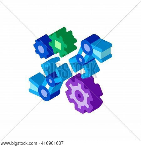 Robotic Arm Process Of Machine Learning Color Icon Vector. Isometric Robotic Arm Process Of Machine