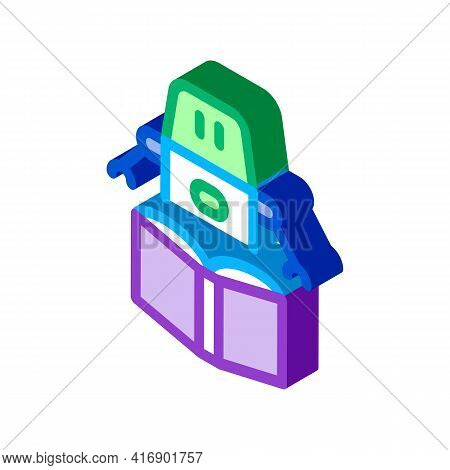Robot Automatic Solution Color Icon Vector. Isometric Robot Automatic Solution Sign. Color Isolated