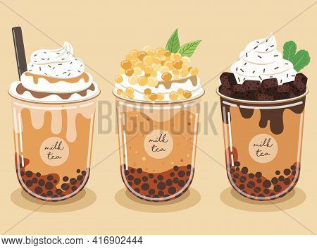 Pearl Milk Tea Set Contains Chocolate Brownies And Whipped Cream Topped With Caramel Sauce On A Past