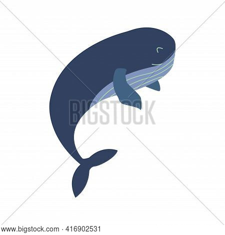 Cute Smile Blue Whale. Colorful Vector Isolated Illustration Hand Drawn. Wildlife, Mammal From Ocean