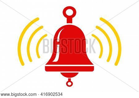 Vector Icon Of Red Metallic Bell. Vector Ringing Bell For Alarm Clock And Smartphone Application Ale