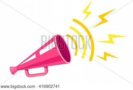 Vector Vintage Poster With Retro Pink Megaphone. Retro Pink Megaphone.