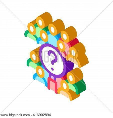 Demography Researcher Color Icon Vector. Isometric Demography Researcher Sign. Color Isolated Symbol
