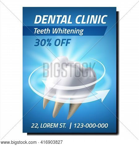 Dental Clinic Creative Promotional Banner Vector. Teeth Whitening Treatment Dental Clinic Service Ad