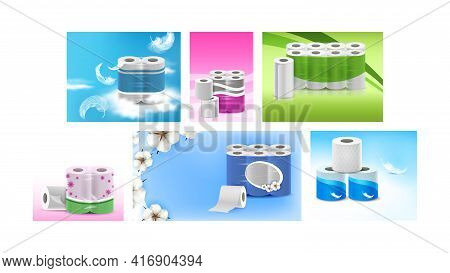 Towels And Toilet Paper Promo Posters Set Vector. Hygienic Soft Paper Accessories Blank Packages, Bi