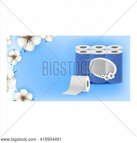 Super Soft Toilet Paper Promotional Banner Vector. Toilet Paper Rolls Blank Package And Blossom Flow