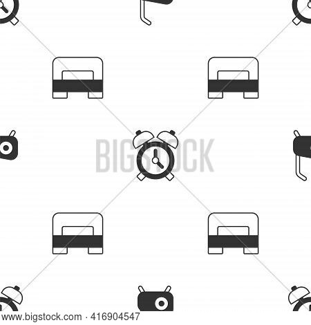 Set Stationary Bicycle, Alarm Clock And Big Bed On Seamless Pattern. Vector